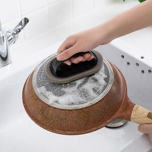 Image 2 - Escova de limpeza Com Alça Cozinha Descontaminação Mágica Esponja Limpa Tigela Pote Escova de Limpeza Limpador de Janelas Do Banheiro Acessórios