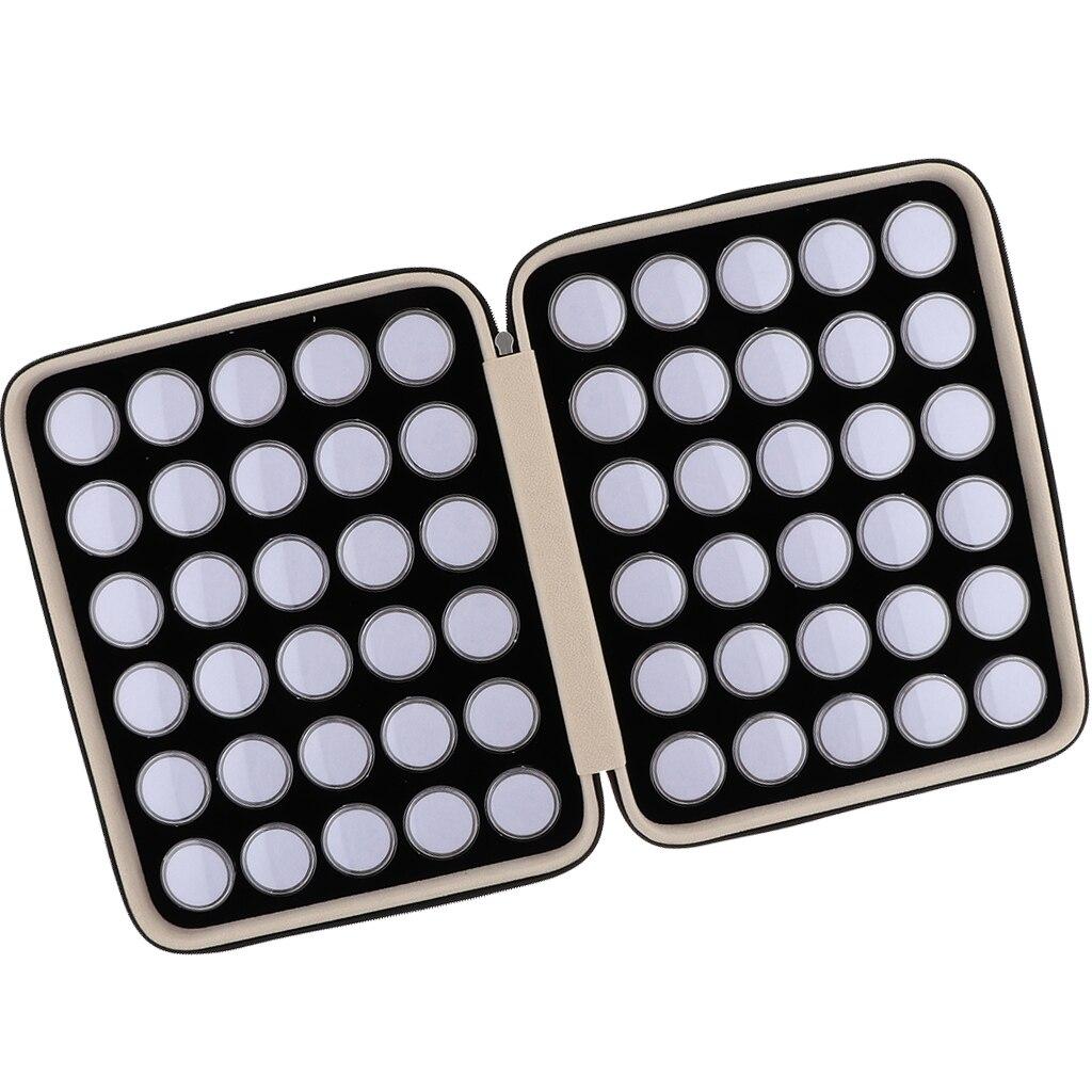 60Grids Round Separate Plastic Mini Organizer Box for Diamond Gemstone Display Storage Box with Black PU