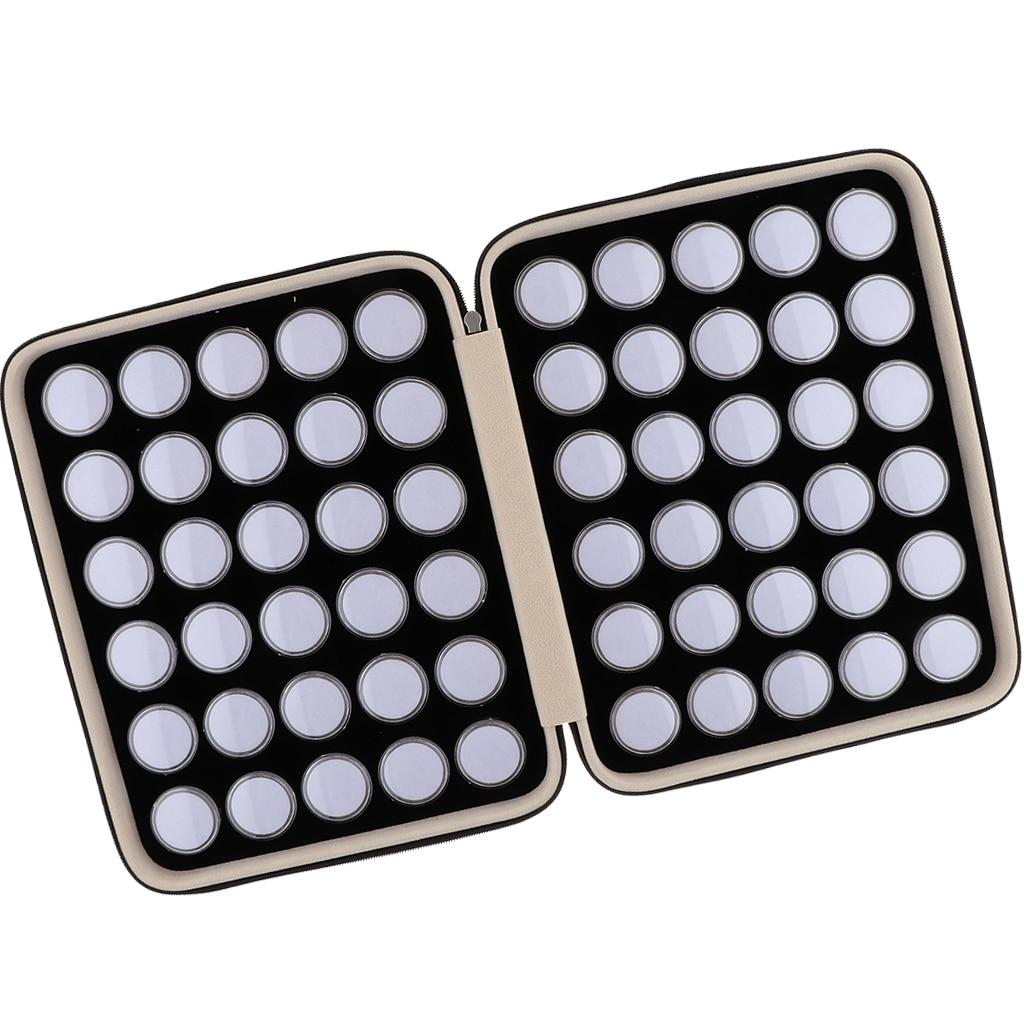 60Grids Round Separate Plastic Mini Organizer Box for Diamond Gemstone Display Storage Box with Black PU Leather Case