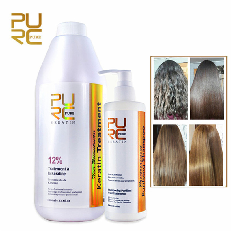 PURC 12% Formalin Brazilian Chocolate Keratin Hair Straightening Treatment + Purifying Shampoo Repair Damaged Hair Care Set