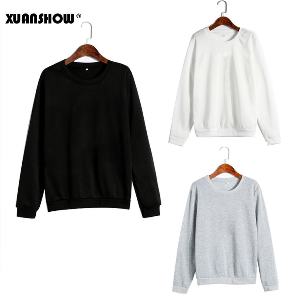 XUANSHOW Casual Unisex Sold Color Clothes Fleece Long Sleeve Man Woman Pullover Bluzy Moletom Feminino Inverno S-5XL