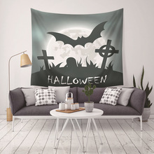Halloween Party Tapestry Home Decor Black Bat Castle Horror Wall Hanging Blankets Night Tapestries For Living Bedroom Sheet