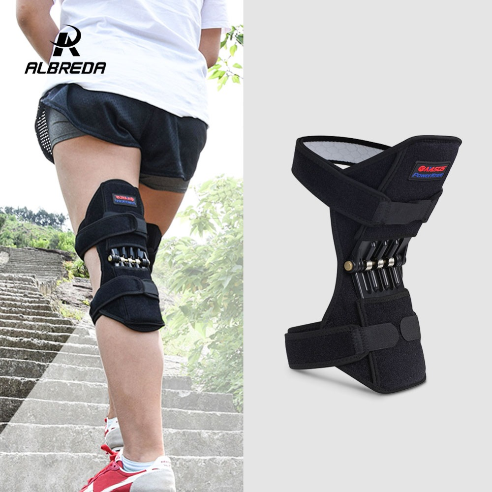 ALBREDA New 1pair Sport Spring knee strap Mountain climbing running Knee booster knee pad  Knee joint protection band SS099 spring kneepad rebound