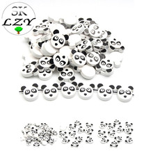30PCS Panda Pattern Wooden Beads Animal Series Cartoon Model DIY Childrens Toy Pacifier Clip Handmade Jewelry Making 20mm
