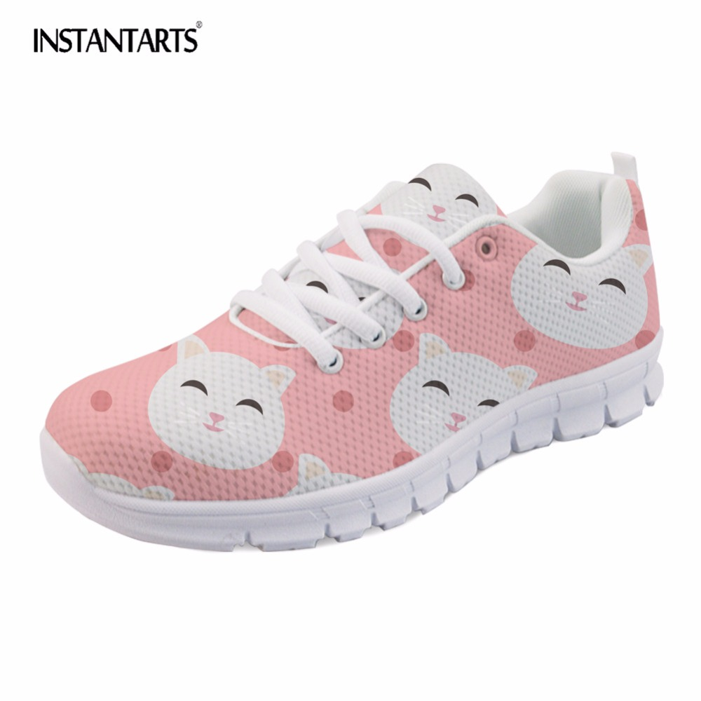 INSTANTARTS 2018 New Fashion Women Sneakers Shoes Cute Cartoon Cat Design Casual Mesh Flats Shoes Girl Tenis Feminino Large Size все цены