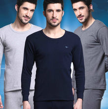 Autumn and winter male 100% cotton thin sweater and trousers set men thermal underwear long johns pajamas set 08001(China)