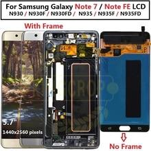 Para samsung galaxy nota fã edição lcd n935fd display touch screen com quadro digitador para samsung nota fe nota lcd 7 n930
