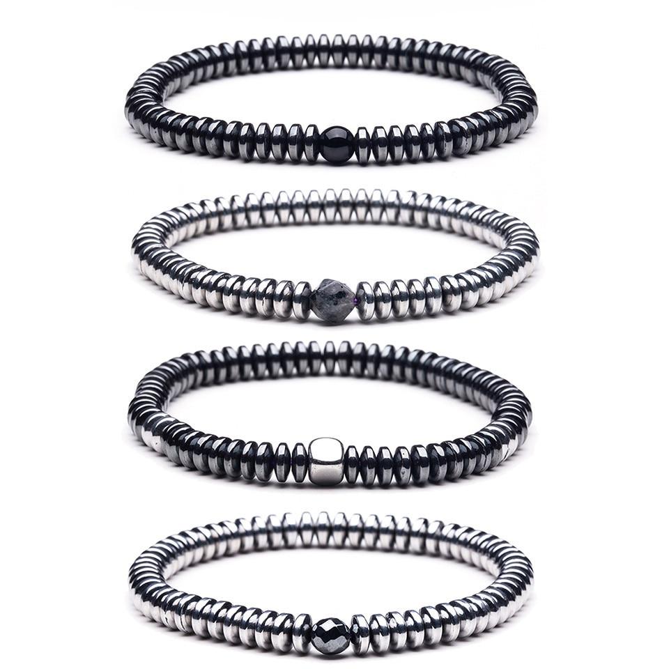 Natural stone Beads lava stone Tiger eye Golden silver Hematite wrap Men s bracelets bangles Charms