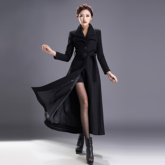 a1b3848a153 New Fashion Women s Double Layer Collar Vintage Winter Long Jacket Coats  Pure Color Woolen Trench Autumn Winter Wool Coats