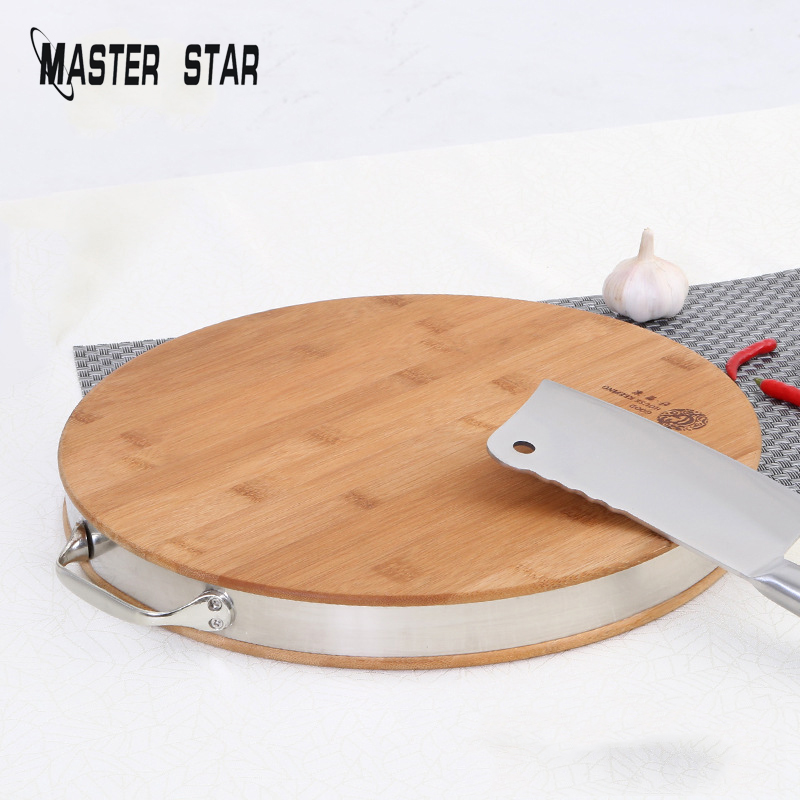 Master Star Bamboo Round Vegetable Cutting Board Anti-corrosion Durable Round Chopping Board Chef Chopping Blocks image