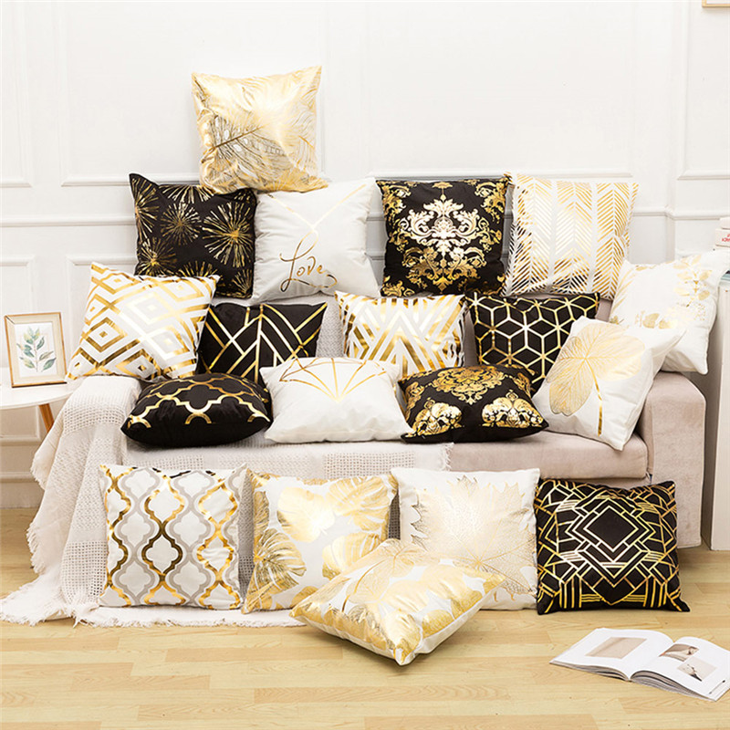 Fuwatacchi Black Gold Foil Linen Cushion Cover Leaf Flowers Diamond Pillow Cover for Home Chair Sofa Decorative Pillows 45 45cm in Cushion Cover from Home Garden