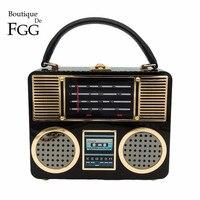Boutique De FGG Retro Đài Phát Thanh Trường Hợp Hộp Ly Hợp Màu Đen Acrylic Phụ Nữ Thời Trang Evening Đảng Totes Purse Shoulder Bag Handbag Crossbody