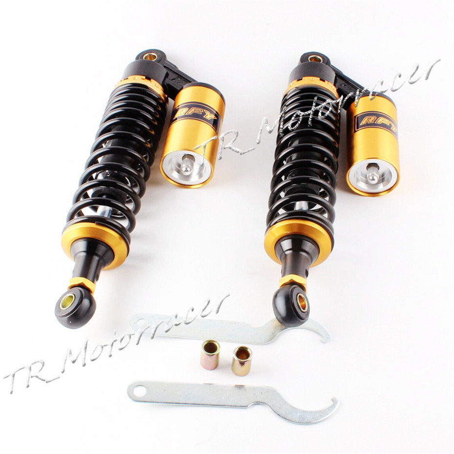 13.5 340mm Pair Air Shock Absorber Clevis For Honda CB 750 RD 350 CB Series Replace Gold & BlACK new 13 5 340mm motorcycle a pair air shocks absorber eye to eye gokart purple