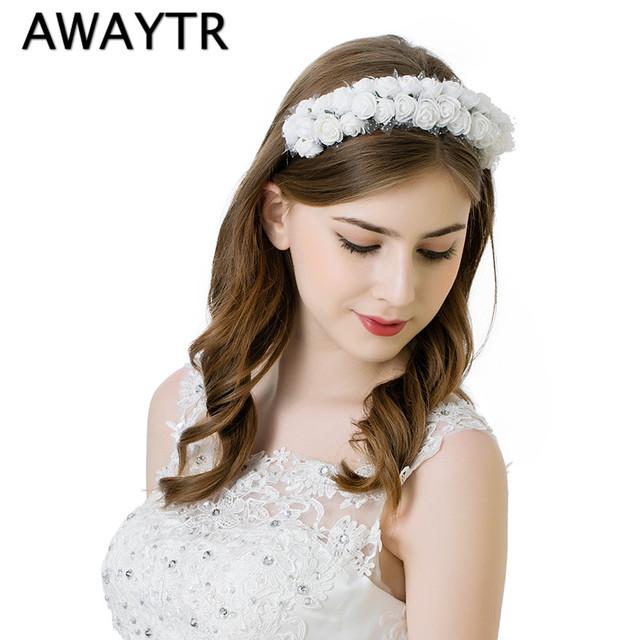 Bride Rose Flower Crown Hairband 2017 Brand New Woman Wedding Crown Headband Spring Summer Girls Women Foam Flower Headwear