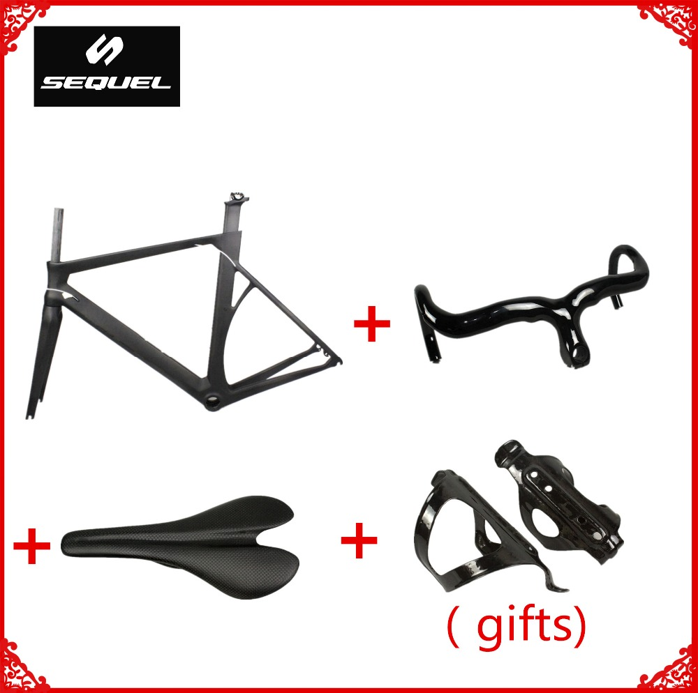 купить Factory price good quality full carbon fiber road bike frame on sale frameset+handlebar+saddle+bottle cage chinese carbon frames недорого