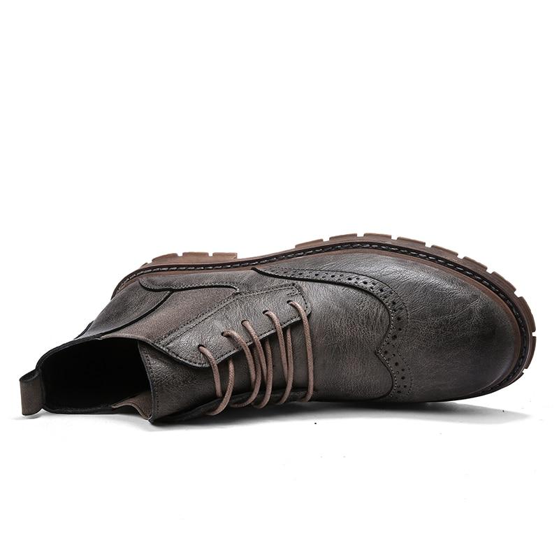 Travail Hiver marron De Nouveau Noir High Hommes Imperméable Cheville En Homme Style Martin Véritable Chaussures Vintage Top gris Bottes Cuir RUzRZwgq