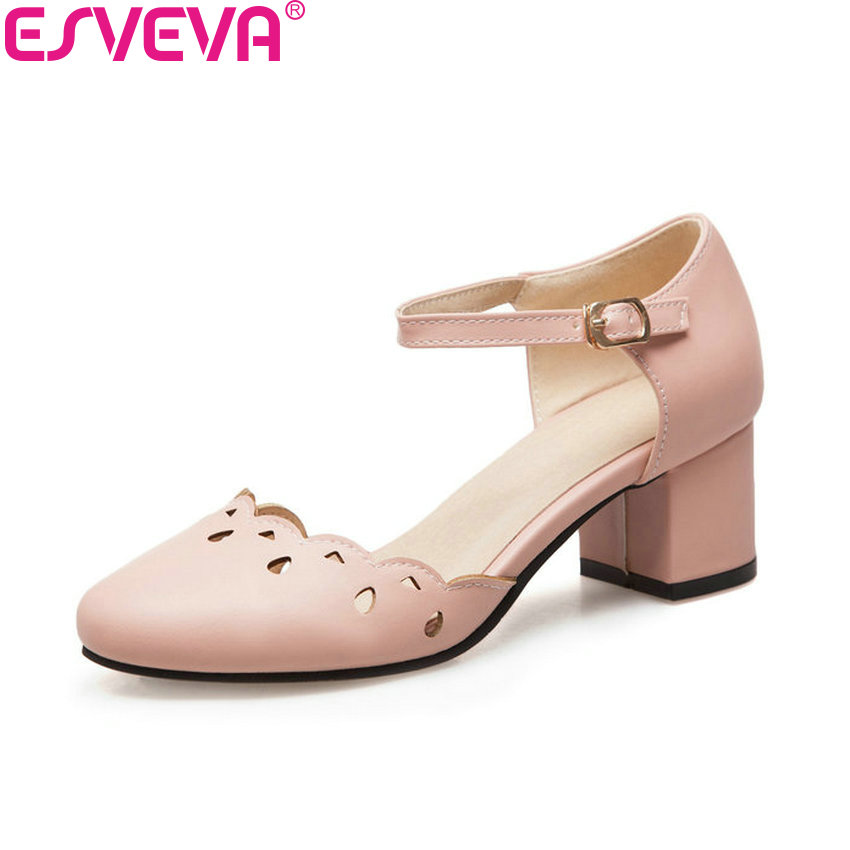 ESVEVA 2018 Women Pumps Sweet Two-piece Square High Heels Spring Autumn Round Toe Buckle Strap Casual Pumps Shoes Size 34-43 siketu 2017 free shipping spring and autumn women shoes sex high heels shoes wedding shoes sweet lovely pumps g126