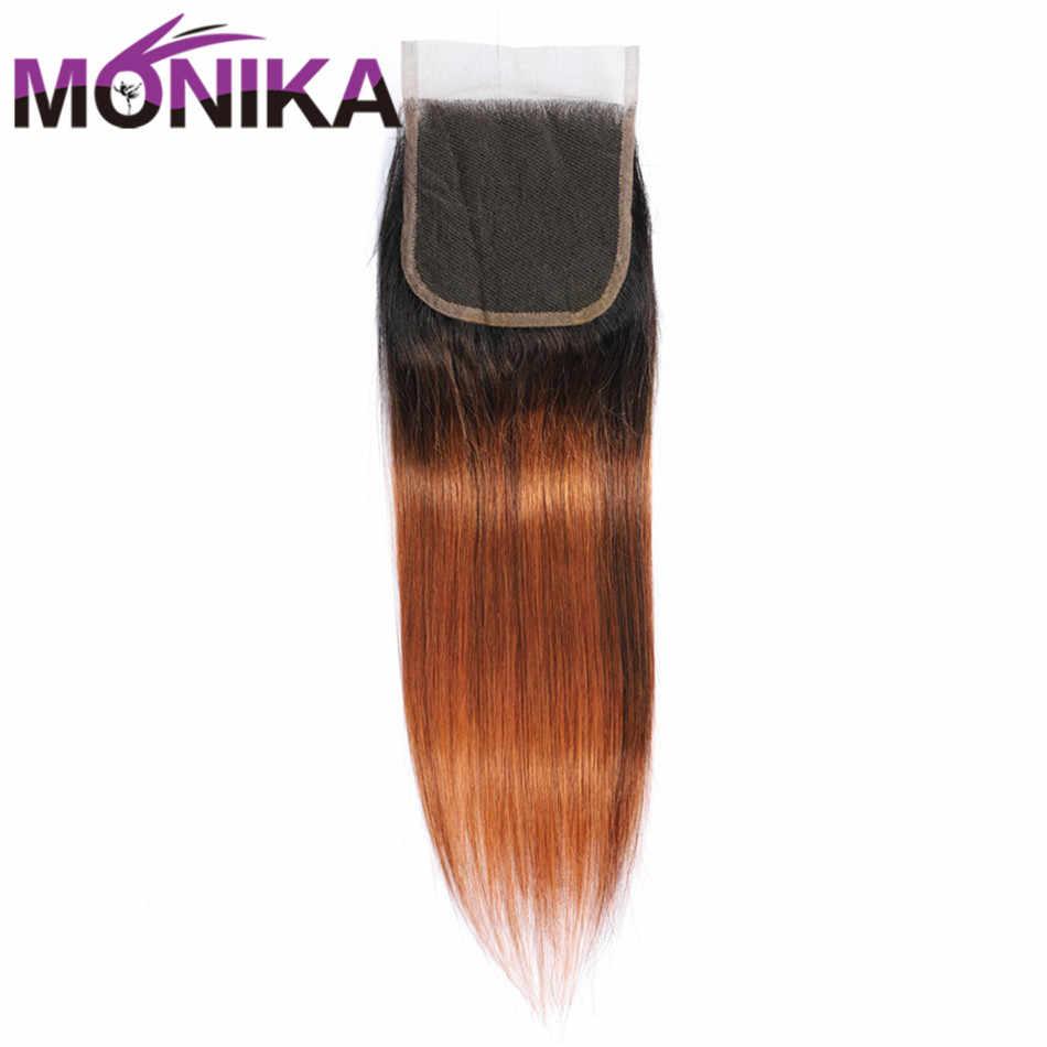 Моника бразильские прямые волосы застежка T1B/30 волосы Remy 4*4 застежка человеческих волос 130% Destiny швейцарская шнуровка Omber Hair расширение