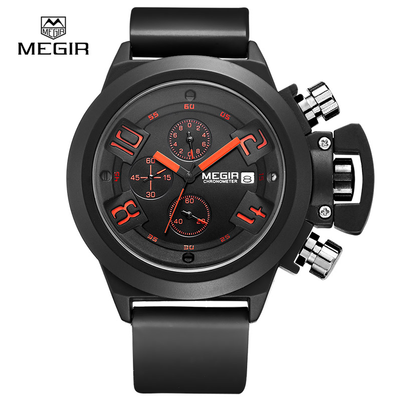MEGIR Elegant Classic Black Men's Watch Classical Art Carved Craft Design Precision Time Chronograph Men Sport Watches 2002 hubot elegant classic men s watch dates calendar classical art carved craft design chronograph men sport watches relogios
