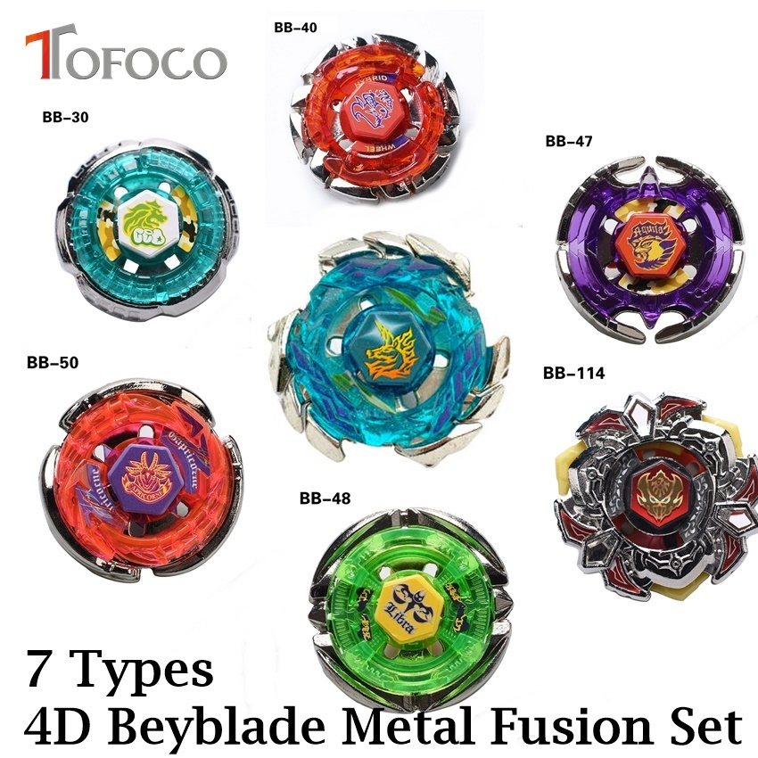 TOFOCO 7 Types Movie Anime Spinning Top Fight 4D Metal Fusion Toupie Beyblade Pegasus Set Toys For Sale Boy Kid With Launcher