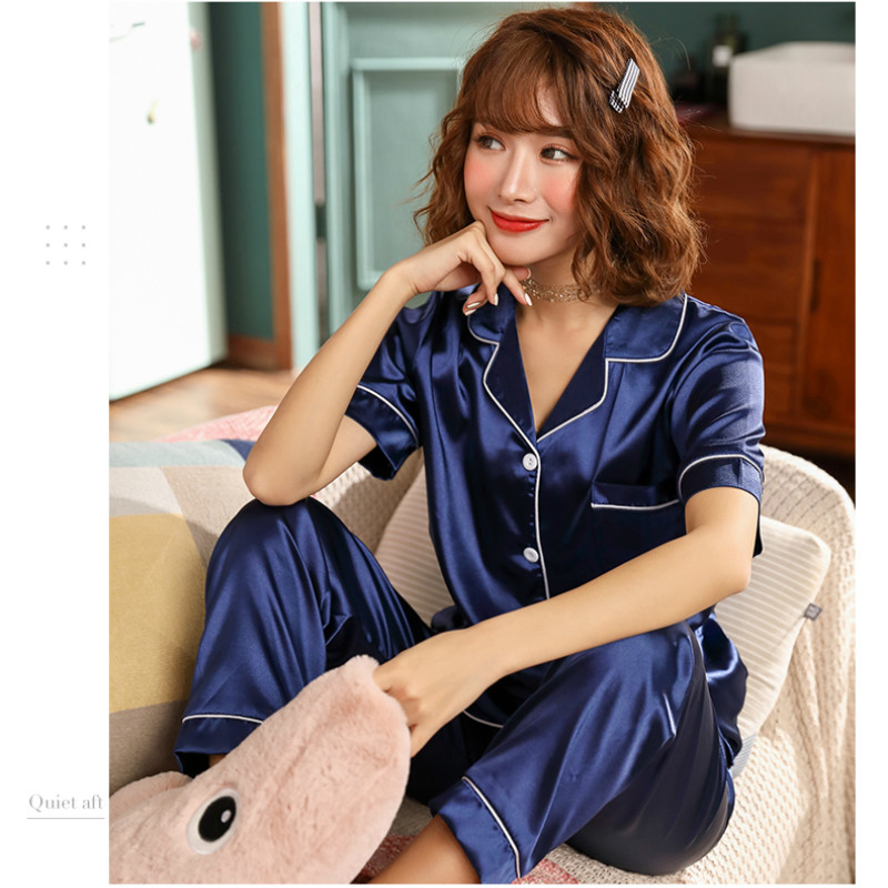 New Womens Silk   Pajamas     Sets   Summer Short Sleeve   Pajama     Sets   Satin Pijamas Sleepwear Pyjamas Plus Size M-5XL 85kg Pink Nightwear