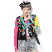 female PU printing fashion leather jacket coat outfit black silver nightclub singer DJ DS costume women sexy  dancer star