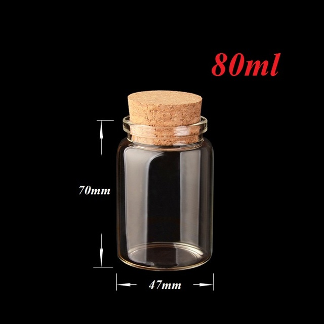 30 X 80ml Small Clear Glass Container Wedding Favor Message Bottle