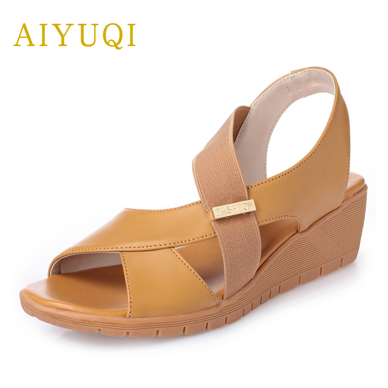 AIYUQI Big size 41#42#43#women's sandals summer 2018 new genuine leather Oxford Comfort and Leisure flat open toe Roman sandals aiyuqi big size women shoe 41 42 43 2018 new women s sandals genuine leather casual comfort wedges open toe roman sandals female