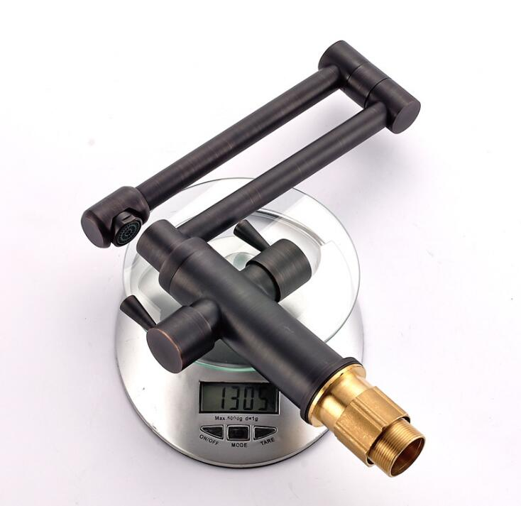 Deck Mounted Kitchen Sink Faucet Folding Hot and Cold Water Mixer Tap Oil Rubble Bronze Black Faucet ML35 - 2