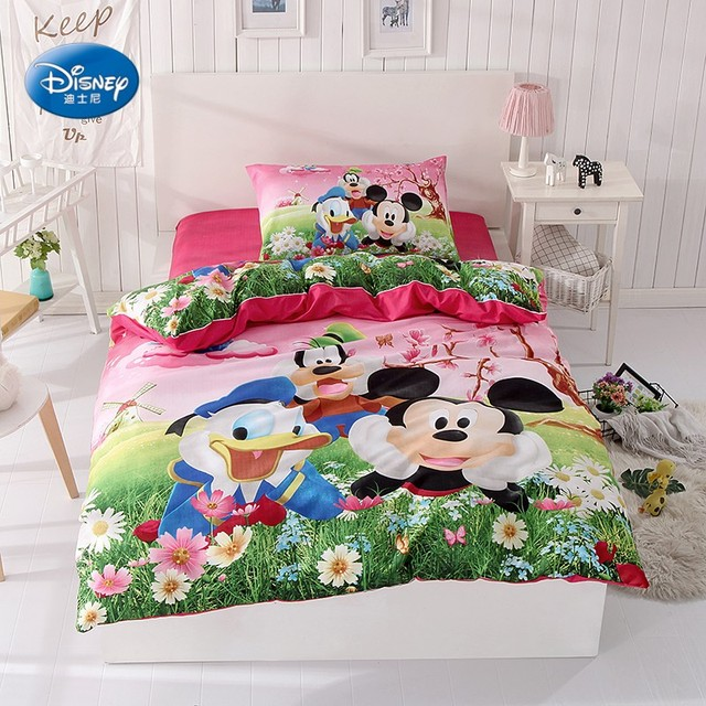 Mickey Mouse Donald Duck Bedding Set Children S Kids Bedroom Decor Single Twin Size Bed Sheets Quilt