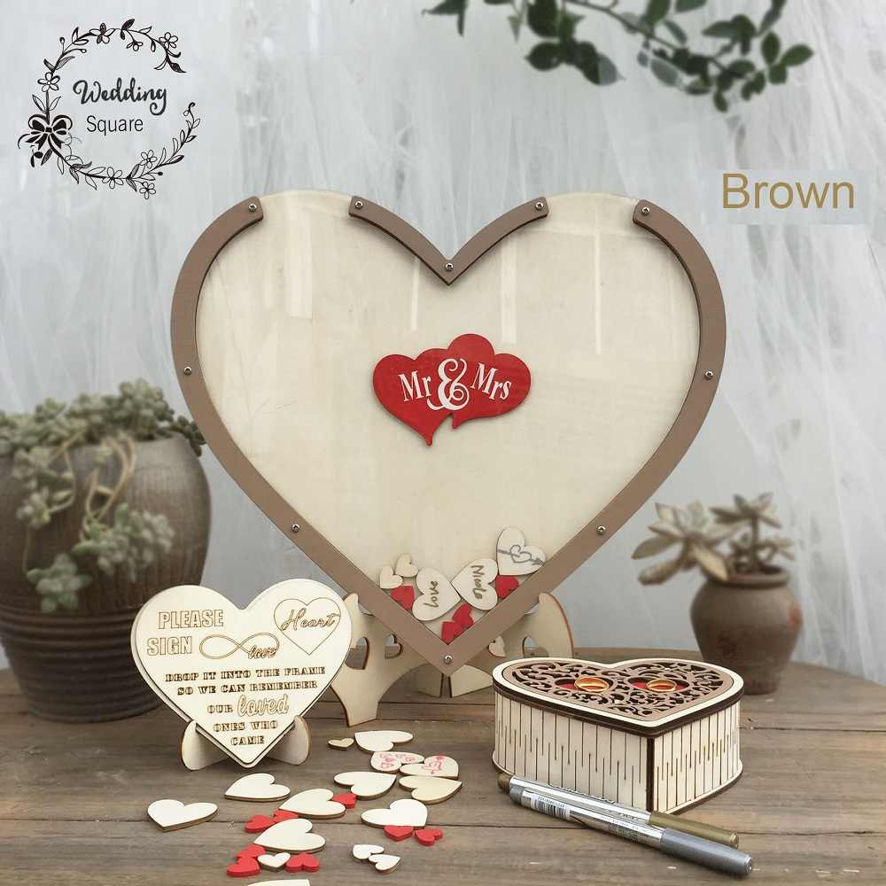 Hearts Unique Wedding Decoration Rustic Sweet Wedding Guest book Wedding Wishes Bank Hearts drop box 3D Guest book wooden box