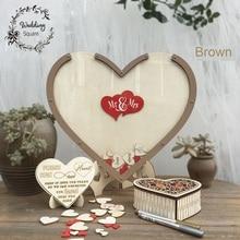 Сердца уникальные украшения для свадьбы деревенские сладкие свадебные Гостевая книга подвесное сердечко коробка Свадьба упаковочная коробка 3D Гостевая книга деревянная коробка