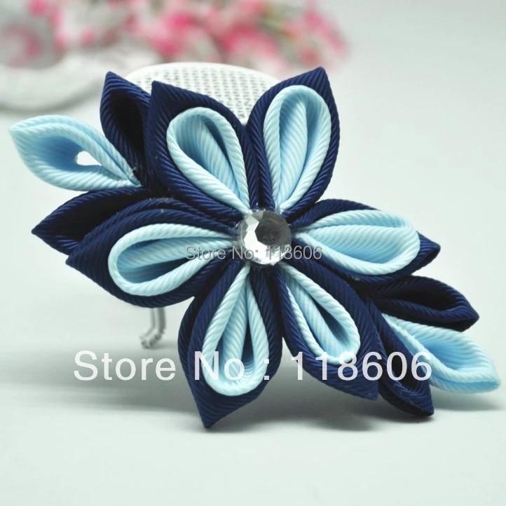Red with black flower clip. Oriental hair clip Japanese hair piece Kanzashi fabric flower hair clip Gray flower clip Orchid kanzashi