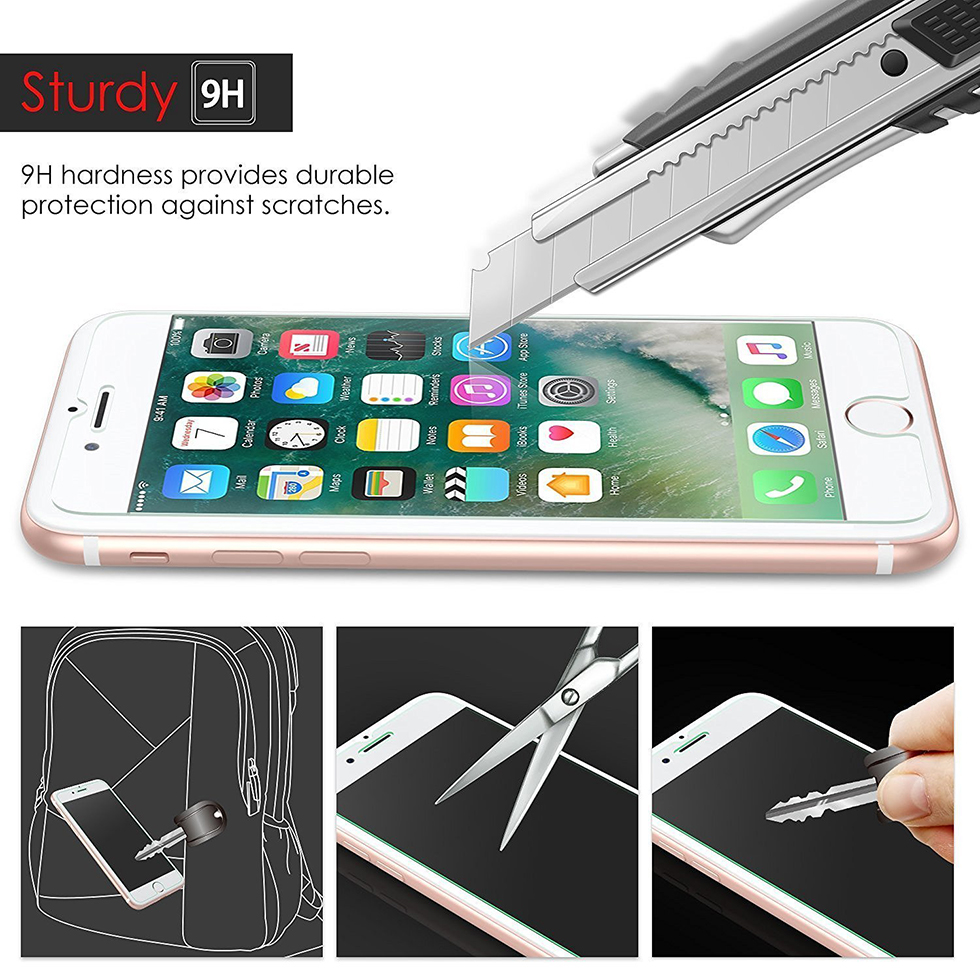 9H Tempered Glass Screen Protector Film for iPhone 6 6s 7 Plus 2.5D Premium Screen protector film front case cover +clean kits