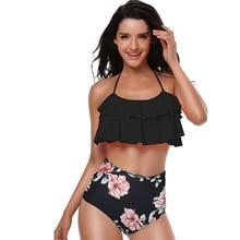 купить 2019 New Stylish Bikini Set High Waist Swimwear Women Push up Padded Bathing Suit Flower Print Summer Swimsuit Euro flash design дешево