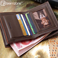 teemzone Men's Genuine Leather Slim Bifold Vertical Wallet Credit Card Holder Pass Case Hipster ID Window 2 Colors  Q390