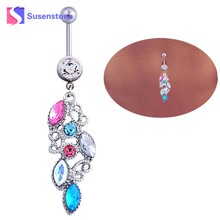 susenstone Hot Sales Top Brand Mixed Color Rhinestone Jewelry Navel Body Piercing Belly Button Rings Best(China)