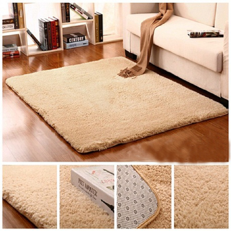 plush fabric solid thicken soft carpet area rugs slip resistant floor mats for living room bedroom - Decorative Rugs