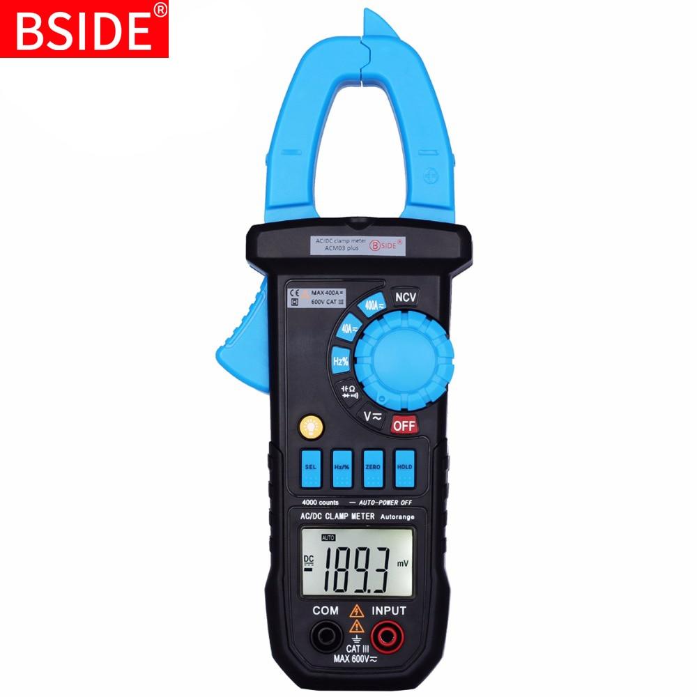 bside acm03 - Digital Clamp Meter BSIDE 01/03plus DC AC Current Voltage Tester Ammeter Car Voltmeter Multimeter Resistance Hz Capacitance Continuity NCV Ohm Test
