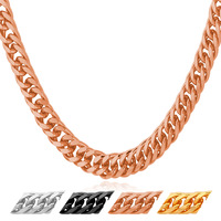 Cuban Curb Link Chain Necklace Mens Jewelry 2016 Gold Platinum Rose Gold Black Plated Wholesale Party