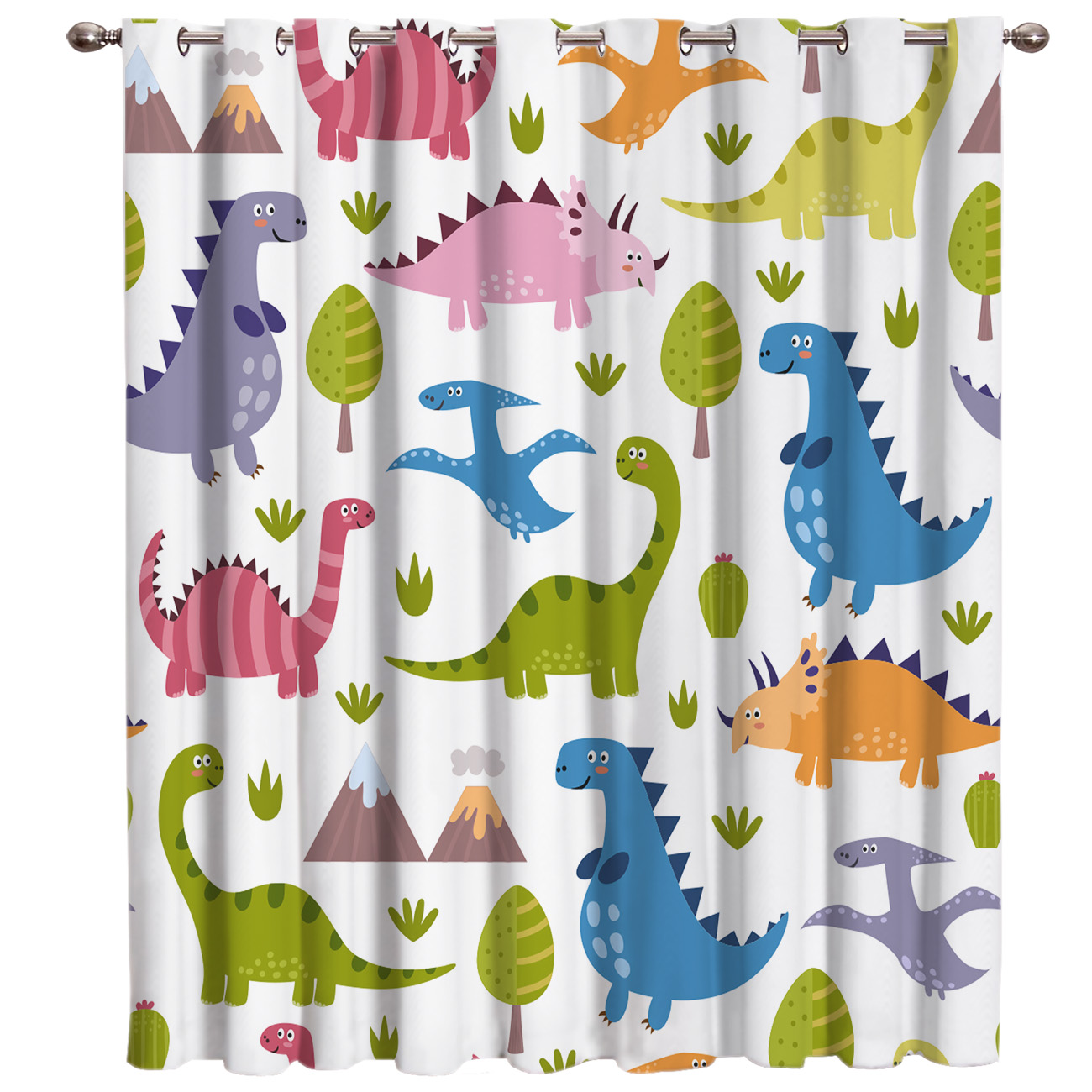 Lovely Dinosaur Patterns Room Curtains Large Window Curtain Lights Bathroom Fabric Decor Swag Window Treatment Sets Curtains