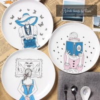 New Arrival 8 Inch Dinner Plates Nordic Beauty High Quality Bone China Love Story Fairy Castle