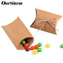 OurWarm 50Pcs Kraft Paper Candy Box Chocolate Dessert Bag Kids Gifts for Guests Wedding Baptism Birthday Party Decorations