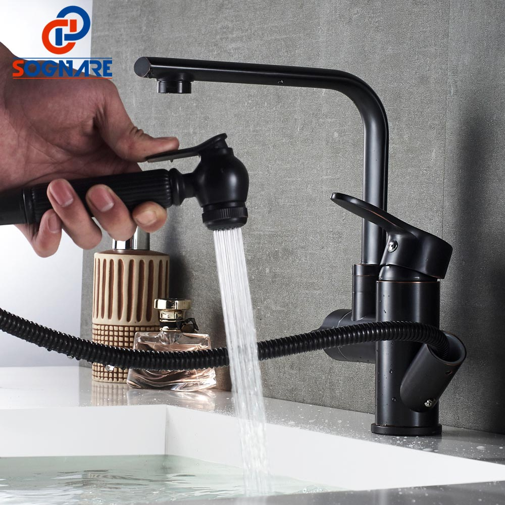 SOGNARE Bathroom Sink Faucet Oil Rubbed Bronze Basin Water Tap Rotate Single Handle Hot Cold Pull Out Bathroom Mixer.2 Function micoe hot and cold water basin faucet mixer single handle single hole modern style chrome tap square multi function m hc203