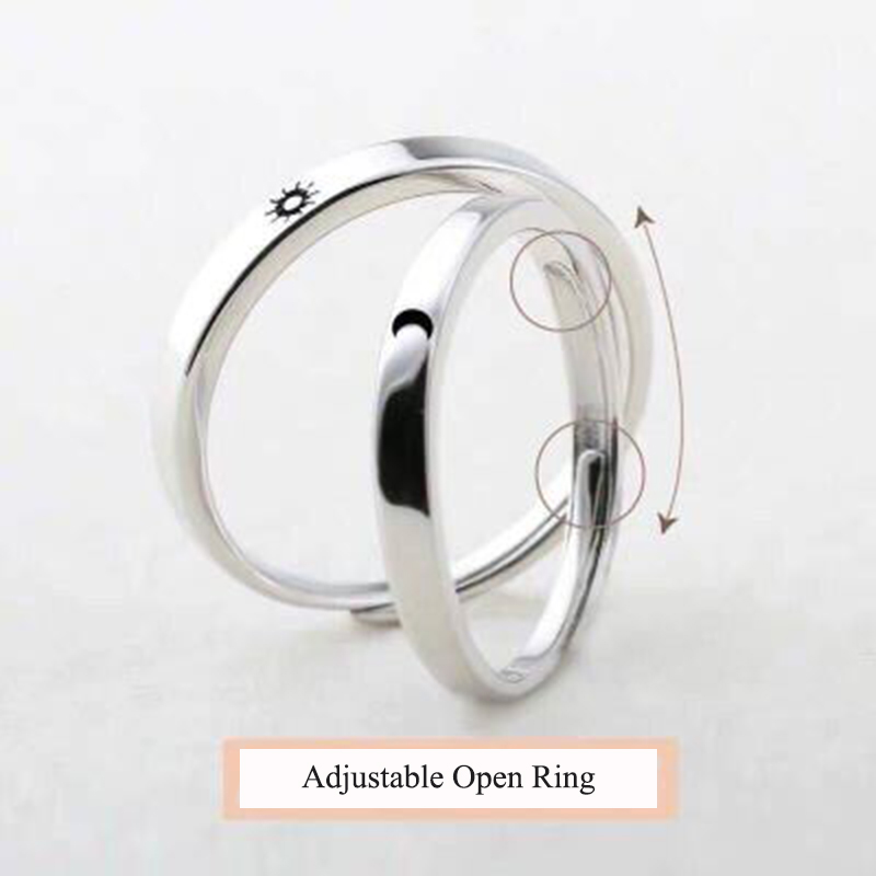 Qevila Fashion Silver color Ring Simple Style Moon Sun Love Adjustable Plate S925 Couple Rings For Girls Boy Best Friend Jewelry (7)