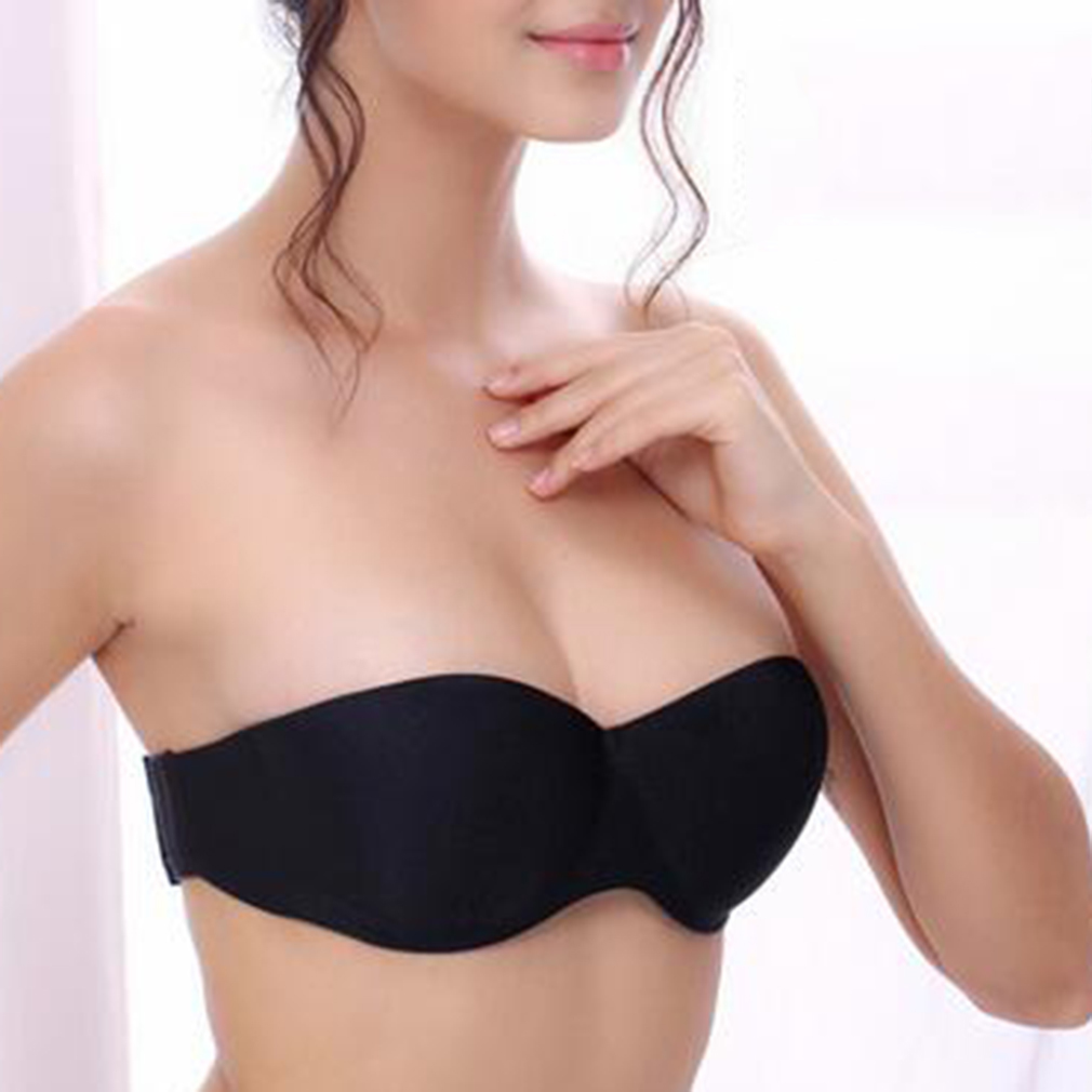 Sexy Invisible Blade Strapless Gather Push Up Bra Invisible Blade Transparent Clear Nude Black Underwear
