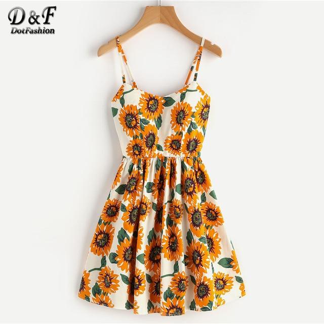 5a600f6e76 Dotfashion Random Sunflower Print Crisscross Back A Line Cami Dress Summer  Spaghetti Strap Dress High Waist