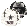 Spring and autumn 2017 boy baby t-shirt fashion stripe five-pointed star long-sleeve tee baby boys casual top 100% cotton