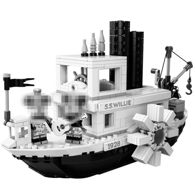 IDEAS Creator Ship Steamboat Willie Building Blocks Kit Bricks City Classic Movie Model Kids Toys For Children Gift