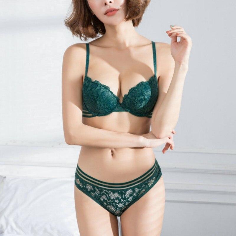 Fashion Sexy Small Girls   Bra     Set   Transparent 2-breasted Glossy Lace   Bra   Women Underwear   Bra   And Panties   Set